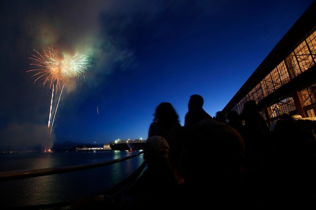 Fireworks light up the sky during the Third of July festival at The Craneway Pavilion in Richmond, Calif., on Friday, July 3, 2015. (Ray Chavez/Bay Area News Group archive)