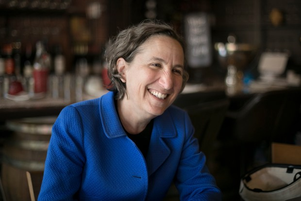 Stanford law school professor Michele Dauber speaks to a Bay Area News Group reporter at the Printer's Cafe in Palo Alto, California on Thursday, June 7, 2018. Dauber triggered the successful recall drive against Santa Clara County superior court judge Aaron Persky. (LiPo Ching/Bay Area News Group)