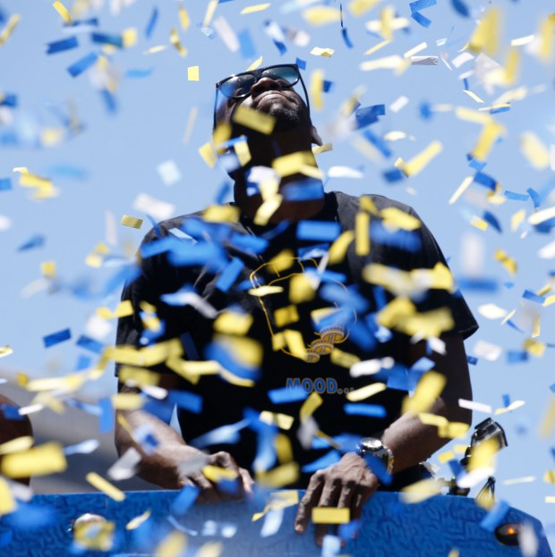 Draymond Green gets doused by confetti as he soaks in the moment during the Warriors Championship parade in Oakland, Calif., on Tuesday. June 12, 2018. (Laura A. Oda/Bay Area News Group)