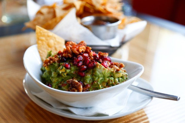 A picture of the Nogada guacamole at Puesto in Santa Clara, Calif., on June 6, 2018. This is the first Bay Area location for this Southern Californian al fresco restaurant chain. (Maritza Cruz/ Bay Area News Group)