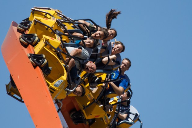 Amusement park visitors react as they ride RailBlazer, a new roller coaster at California's Great America theme park, on June 13, 2018 in Santa Clara. (Dai Sugano/Bay Area News Group)