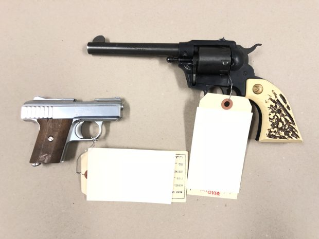 Pictured are two handguns confiscated by San Jose police during patrol stops on June 3, 2018 and June 4, 2018. The weapon on the left was seized from a group tied to a street gang, and the revolver was seized from a felon with an outstanding arrest warrant. (San Jose Police Dept.)