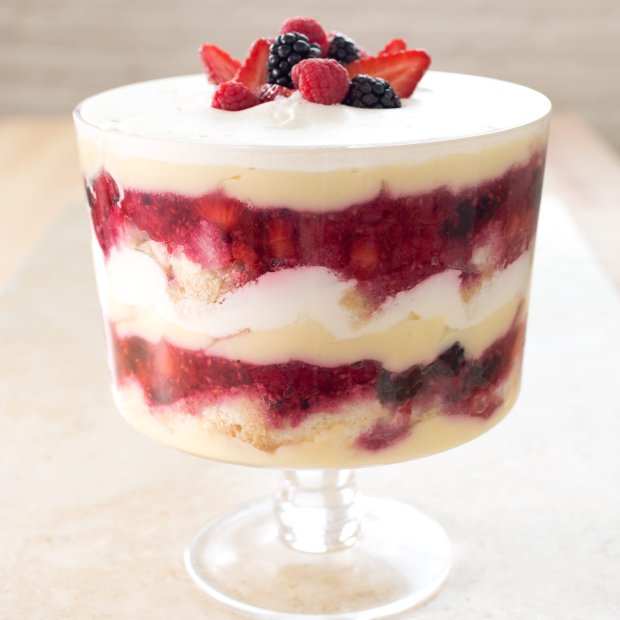 This Summer Berry Trifle is made from scratch, from the chiffon cake baseto the vanilla pastry cream. (Courtesy America's Test Kitchen)