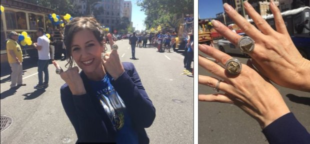 Oakland Mayor Libby Schaaf models NBAchampionship rings at the Warriors victory parade on Tuesday, June 12, 2018. Some city employees were awarded rings. (David DeBolt/Bay Area News Group)