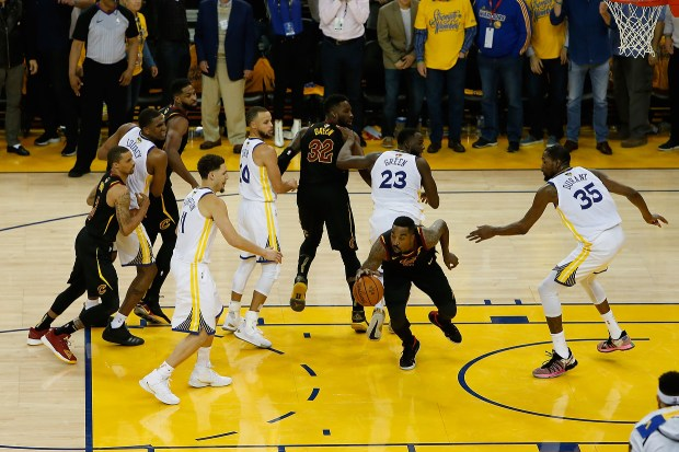 JR Smith #5 of the Cleveland Cavaliers rebounds the ball after a free throw in the closing seconds against the Golden State Warriors in Game 1 of the 2018 NBA Finals at ORACLE Arena on May 31, 2018 in Oakland, California. (Photo by Lachlan Cunningham/Getty Images)