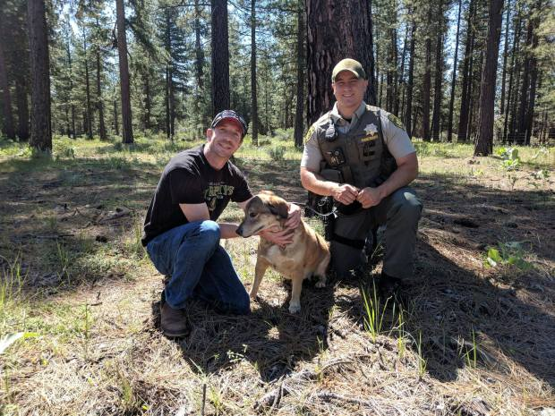 Lena and her rescuers. (Modoc County Sheriff's Office)