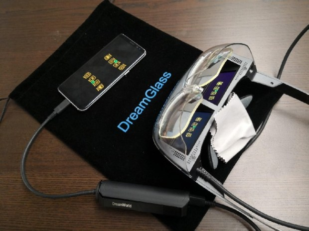 The $400 DreamGlass displays apps running on a tethered phone inside glasses. (Courtesy of DreamWorld)