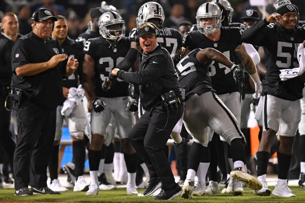 179c05651c2 Gruden received sturdy play out of his defensive line on Friday night.  (Jose Carlos Fajardo Bay Area News Group)