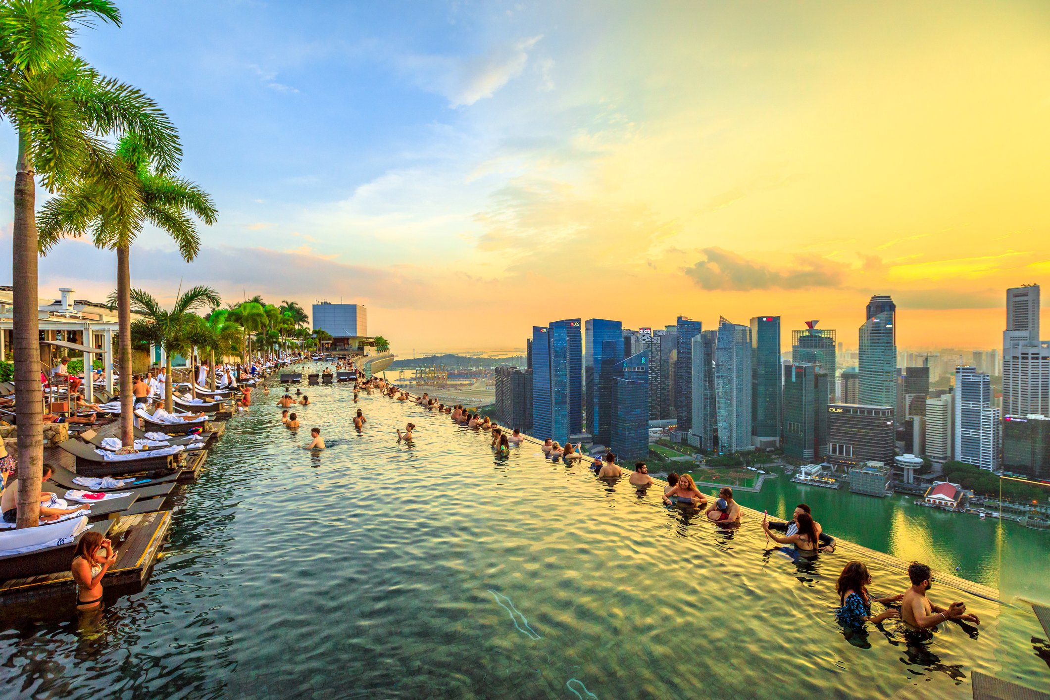 Top 8  Crazy Rich Asian  filming locations to visit in Singapore The infinity pool on the 57th floor of Singapore s Marina Bay Sands Hotel  offers jaw dropping views of the city   Getty Images