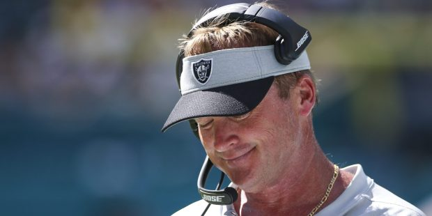 Jon Gruden reacts on the sidelines ...