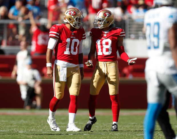reputable site 72c6a 6ce9d San Francisco 49ers starting quarterback Jimmy Garoppolo (10) talks to San  Francisco 49ers  Dante Pettis (18) after an interception was called back  due to a ...