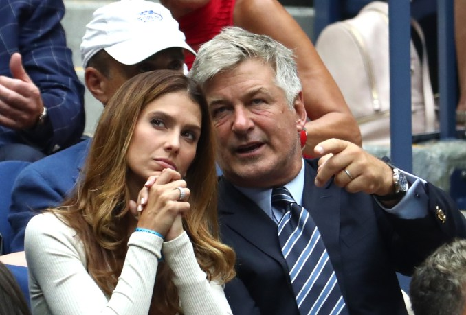 Hilaria and Alec Baldwin watch the men's singles semi-final match between Rafael Nadal of Spain and Juan Martin del Potro of Argentina on Day Twelve of the 2018 US Open at the USTA Billie Jean King National Tennis Center on September 7, 2018 in the Flushing neighborhood of the Queens borough of New York City.  (Photo by Al Bello/Getty Images)