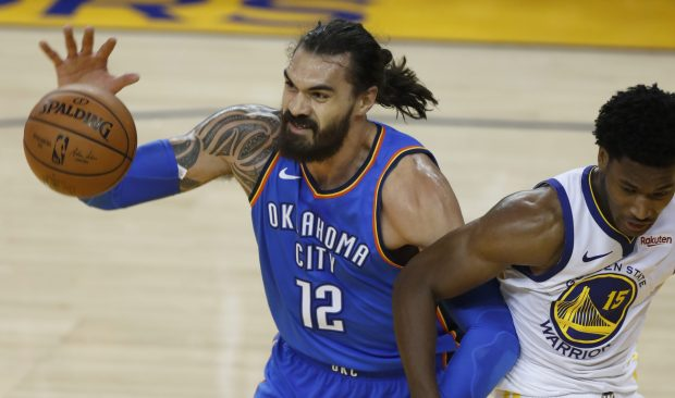 66030e2867a Damian Jones battles Steven Adams in the third quarter. (Nhat V. Meyer Bay  Area News Group)
