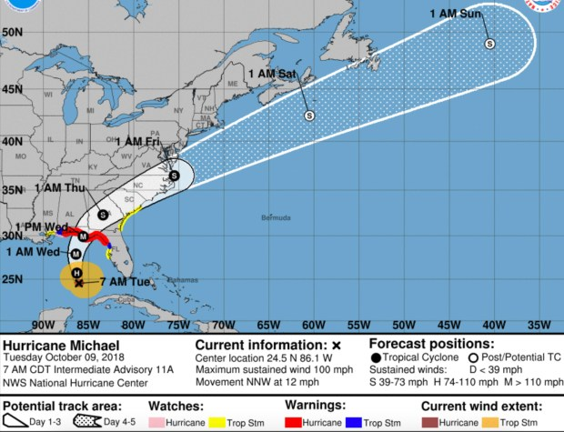 Hurricane Michael hits Class 2 on strategy to Florida - The