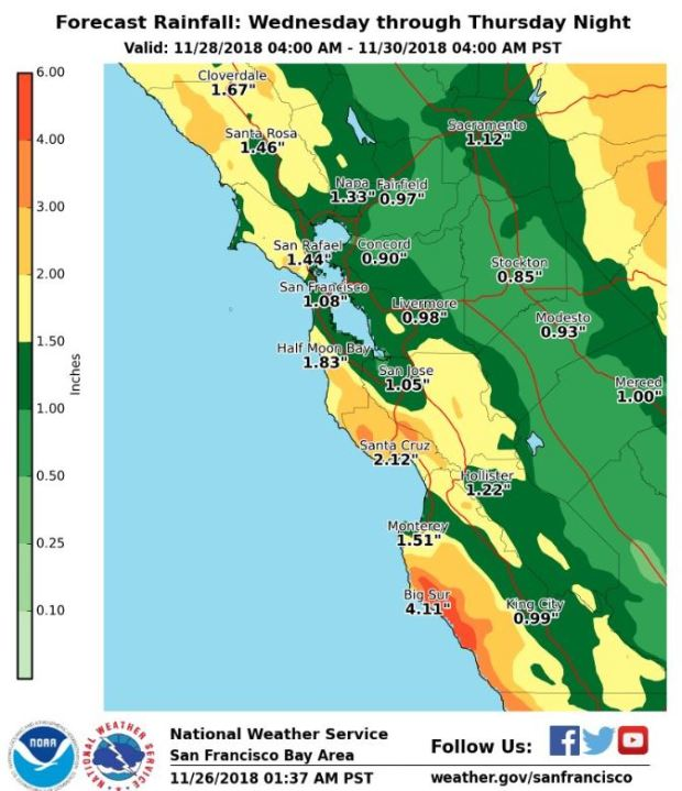 Bay Area Weather Heaviest Rain This Week Still To Come