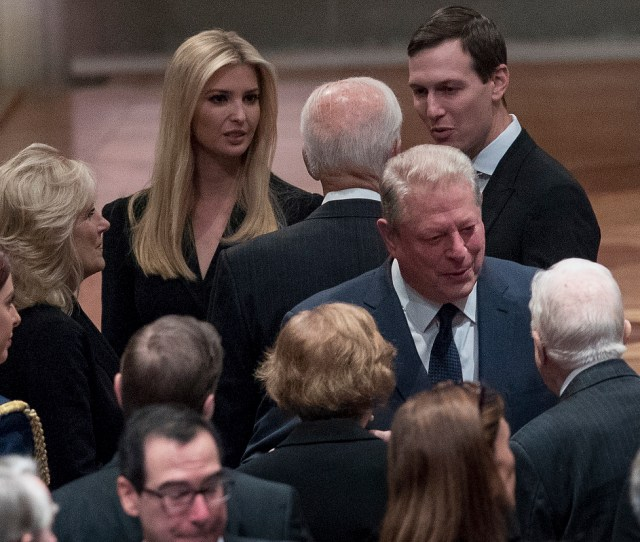 Former Vice President Joe Biden Fourth From Left And His Wife Jill Biden Second From Left Speak With Ivanka Trump The Daughter Of President Donald