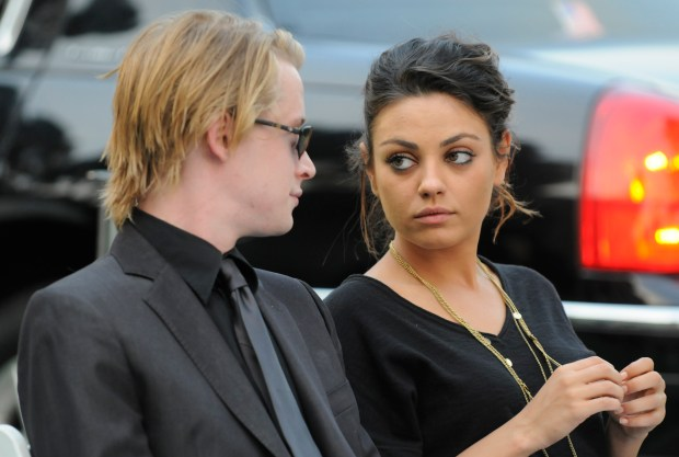 5cfe12562e8f7 Macaulay Culkin and his then-girlfriend actress Mila Kunis attending Michael  Jackson s funeral service held at Glendale Forest Lawn Memorial Park in ...