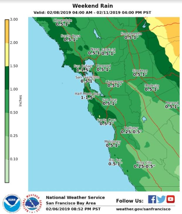 Weekend storms to bring rain to Bay Area, snow to Sierra Nevada