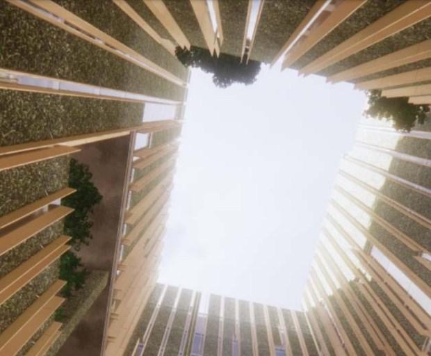 Innenraum des Park Habitat, Blick auf die Dachlinie, 180 Park Ave. in der Innenstadt von San Jose, Konzept.