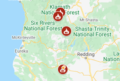 See current wildfires and wildfire perimeters in california on the fire, weather & avalanche center wildfire map. Map Wildfire Evacuations In Trinity And Siskiyou Counties