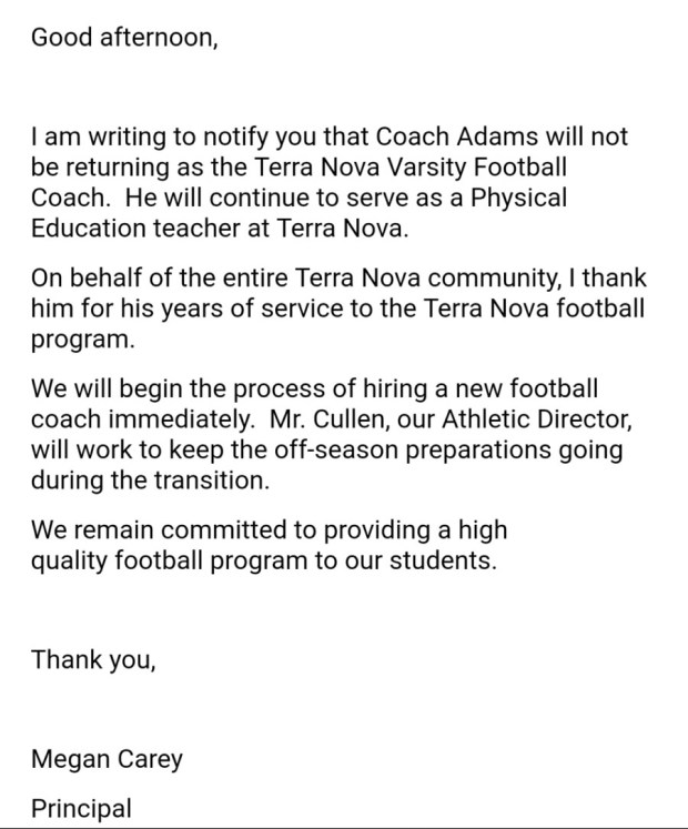 Football: Terra Nova parts ways with head coach Tim Adams