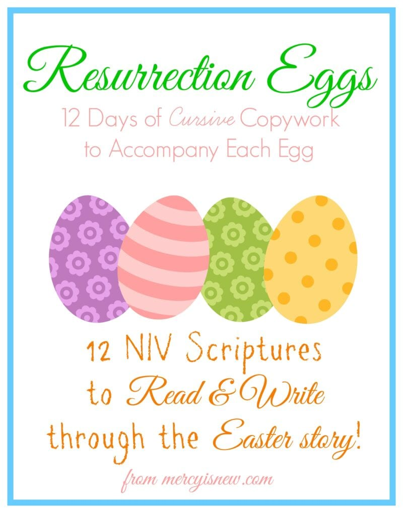 Cursive Copywork To Go With Resurrection Eggs