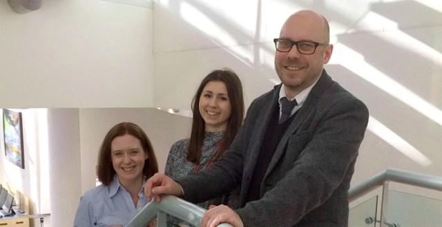 Rachel flanked by her supervisors Dr Claire Hutchinson and Dr Kevin Paterson
