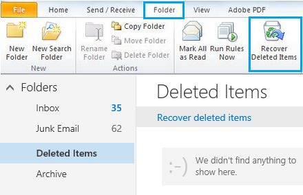 retrieve outlook emails