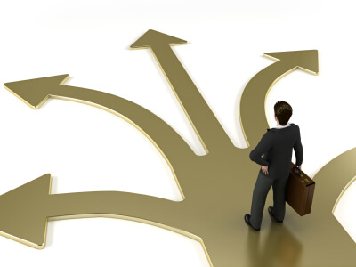 image of person deciding what direction to go in
