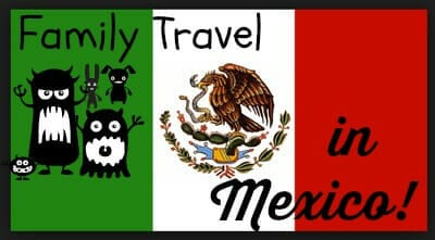 Mexican flag and a stick figure family shown