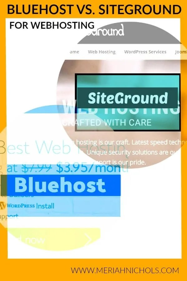 A comparison post between Bluehost and Siteground, two popular website hosting companies | website development | wordpress | wordpress development | bluehost vs. siteground | blog | blogger | blogging | blog post | blog hosting companies | best blog hosting companies