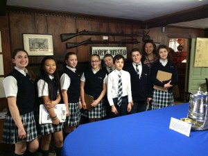 The 7th Grade of St. Joseph's School on a scavenger hunt at the Homestead