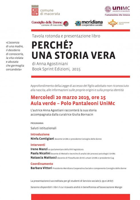 Locandina presentazione libro Anna Agostiniani UNIMC Macerata
