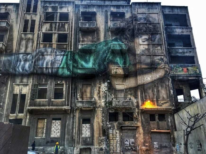 Beirut, ruinas, grafiti