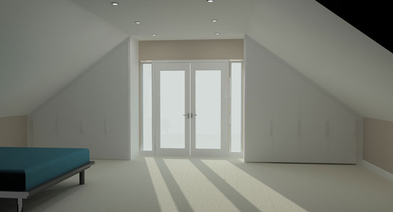Fitted Wardrobe (wardrobe with doors on) 3D render by Meridien Interiors Dorset