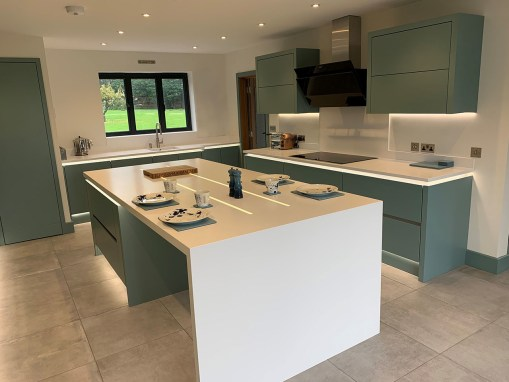 Blue Handleless Kitchen in New Forest