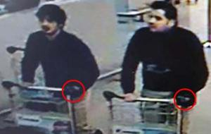 CCTV pictures released by Belgian police show two of the suspects were wearing black gloves on their left hands.