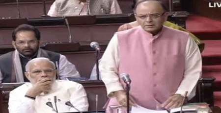 File Photo: Finance Minister Arun Jaitley and Prime Minister Narendra Modi in the Rajya Sabha.