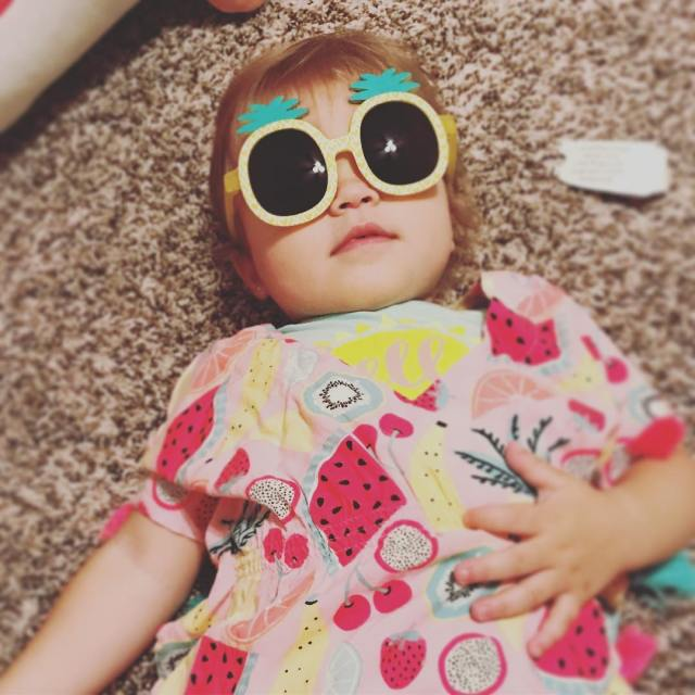 Just the cutest little thing in her pineapple sunglasses maddiehellip