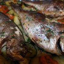 baked sea bream fish with vegetables