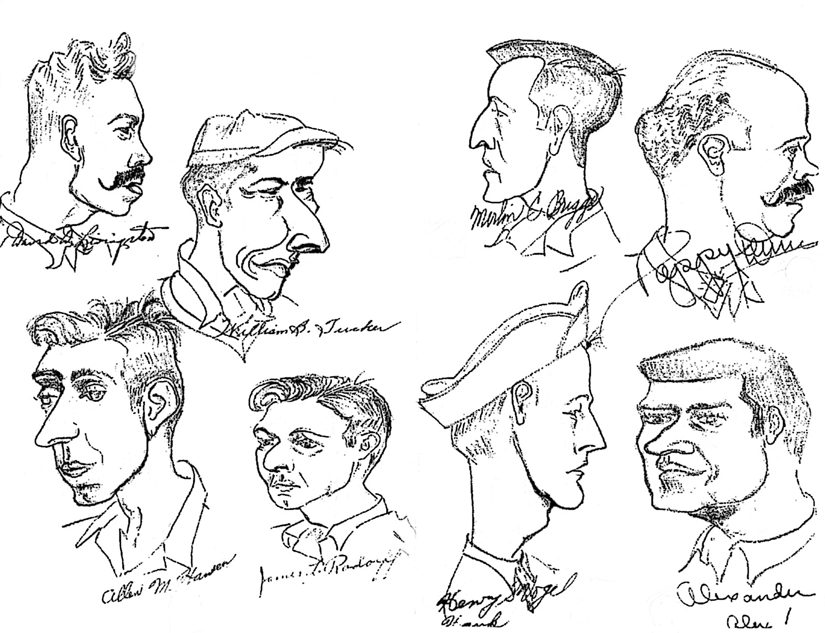 Sketches of men in room 1