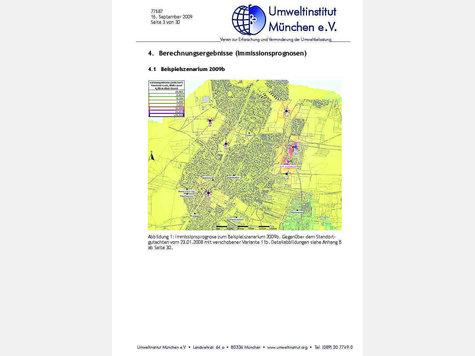 El concepto Gräfelfinger móvil proporciona ese medio transmisores debe consistir sólo en lugares que identifican a la comunidad fuera de las zonas residenciales.  El plan muestra, entre otras cosas, las instalaciones previstas a las nueve de la montaña, el TSV y en la carretera (a la izquierda, de abajo a arriba).  Gráfico: Environmental Institute Munich ev
