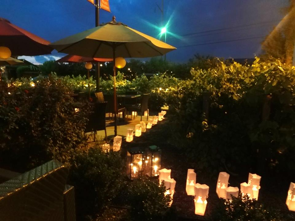 patio with candles