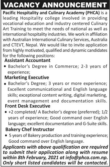 Pacific Hospitality and Culinary Academy (PHCA), Job Opportunity