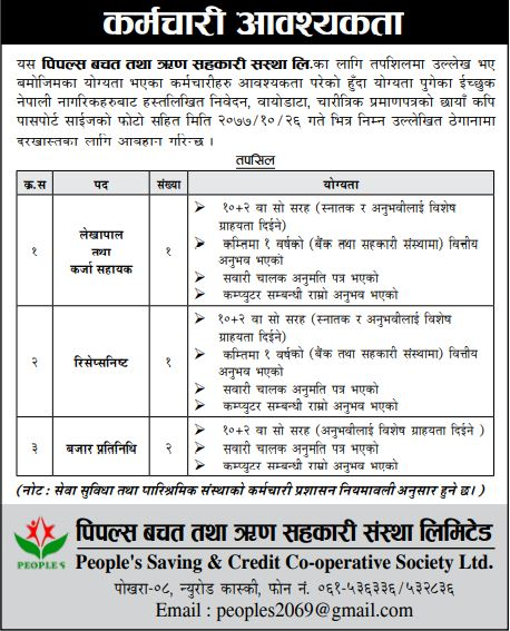 People's Saving and Credit Co-operative Society Limited, Job Opportunity