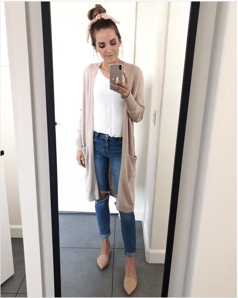 jeans and long cardigan
