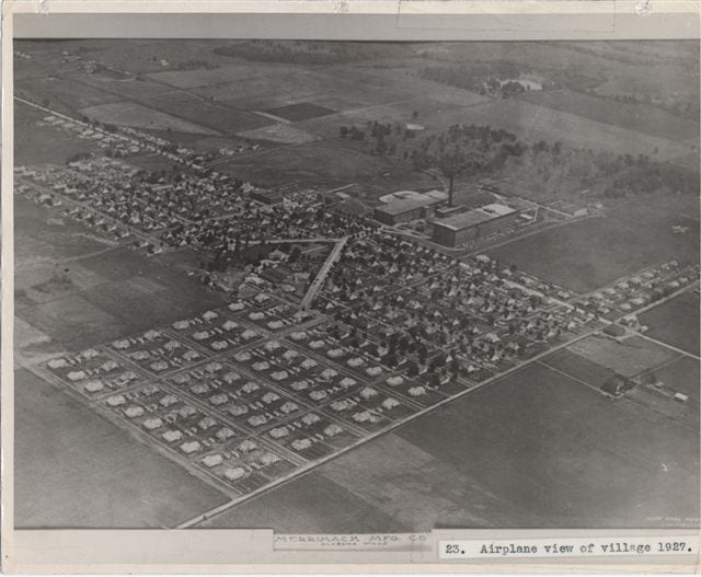 Merrimack Mfg village aerial 1927
