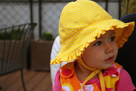 Merriment :: Baby sunhat with ruffles and ties free pattern and DIY tutorial craft project for Merriment Design by Kathy Beymer at MerrimentDesign.com