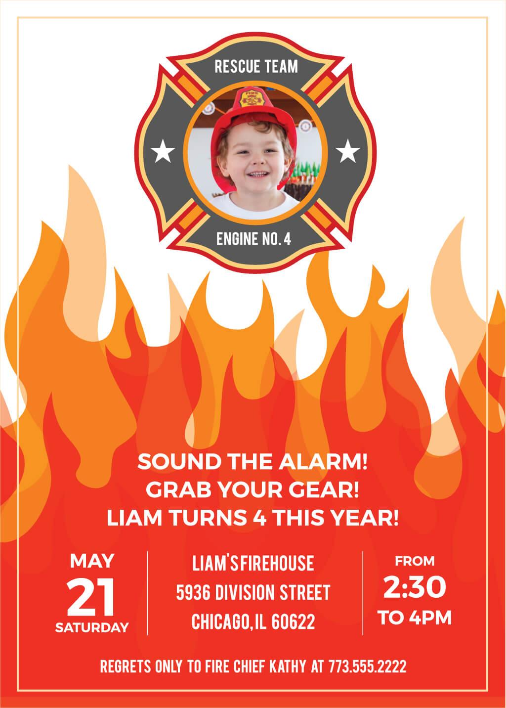 printable fireman birthday party