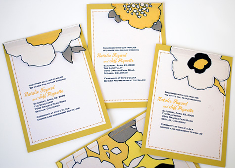 Merriment :: Sewn Half Flower Fabric and Loose Leaf Wedding Invitations by Kathy Beymer